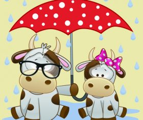 Cow and umbrella cartoon vector