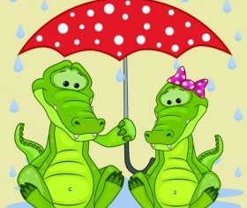 Crocodile and umbrella cartoon vector