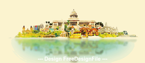 Cuban city watercolor vector