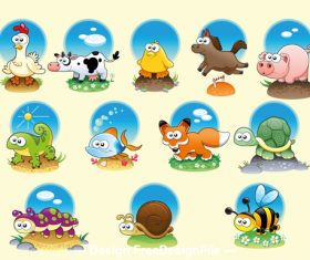 Cute cartoon animals set vector