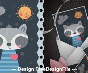 Cute cartoon illustration and postcard cover vector