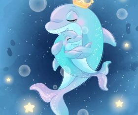 Cute dolphin mother and baby cartoon vector 01