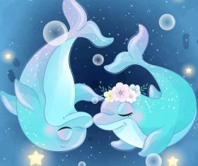 Cute dolphin mother and baby cartoon vector 02