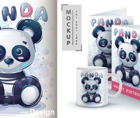 Cute panda merchandising mockup print vector