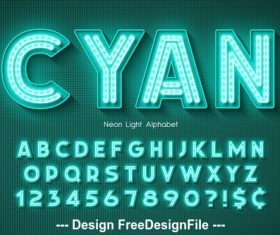 Cyan editable font effect text vector