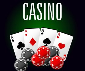 Dark green background playing cards and chip icon vector