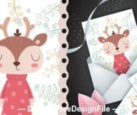 Deer cartoon patternand cover postcard vector