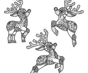 Deer design decorative sketch black vector