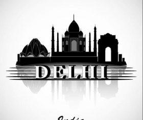 Delhi city silhouette vector