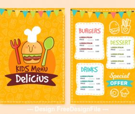 Delicius kids menu vector