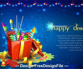 Diwali festival fireworks background vector