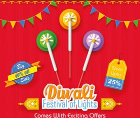 Diwali festival gift sale background vector