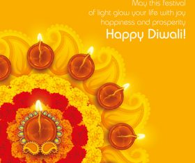 Diwali festival oil lamp background vector
