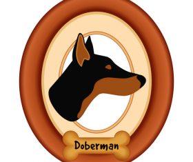 Doberman portrait vector
