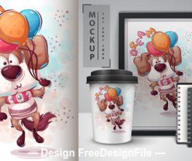 Dog merchandising mockup print vector
