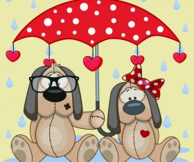 Doll dog and umbrella cartoon vector