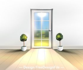 Door and green plant vector