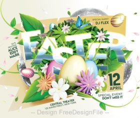 Easter Flyer with Poster PSD Template