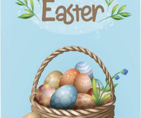 Easter basket egg vector