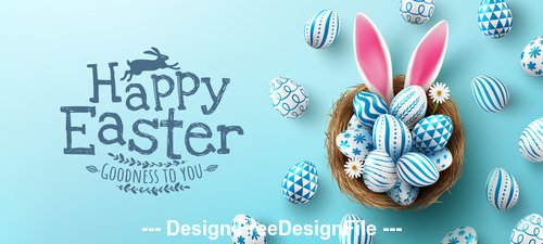 Easter blue painted eggs vector
