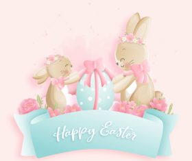 Easter bunny decorative egg vector