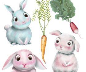 Easter cute rabbit and radish cartoon illustration vector
