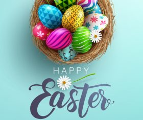 Easter various painted eggs vector