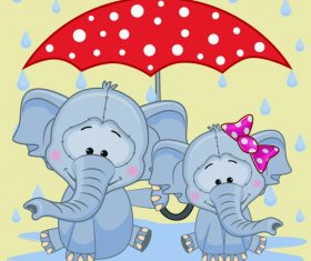 Elephant and umbrella cartoon vector