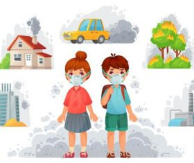 Environmental pollution with kids and mask vector