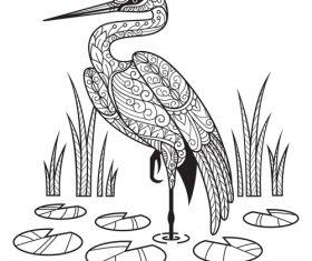 Fairy crane design decorative sketch black vector