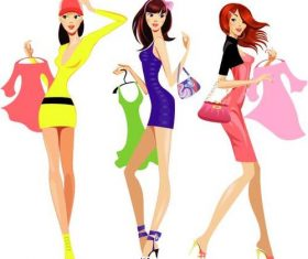 Fashion shopping woman vector