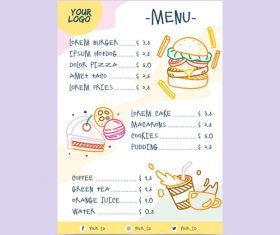 Fast food price menu vector