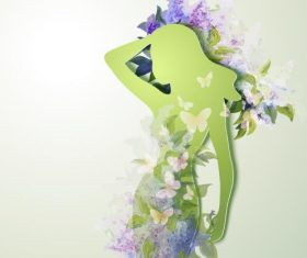 Female paper cut art vector