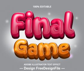 Final game editable font effect text vector