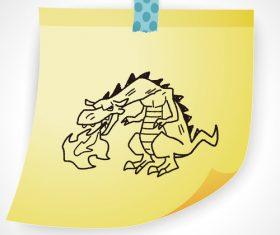 Fire breathing dragon creative doodle vector