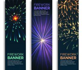 Fireworks background roll banner template vector