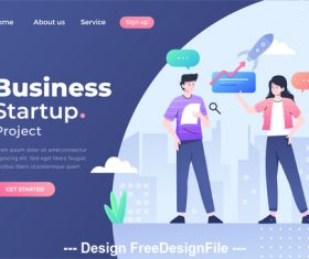Flat concept business startup vector