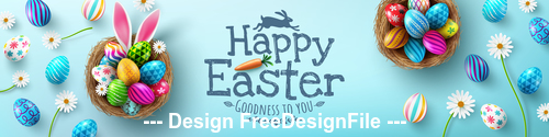 Flower and easter painted eggs banner vector