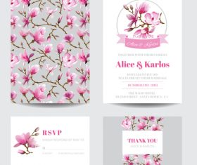 Flower background Wedding invitation card vector