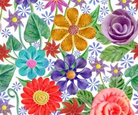 Flower colorful seamless pattern vector