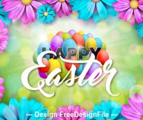 Flower decoration easter greeting card vector
