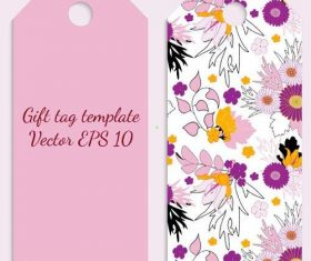 Flower tag template vector