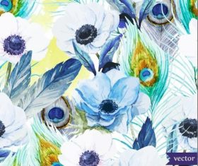 Flower watercolor vector pattern