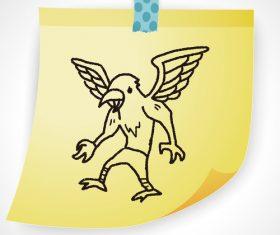 Flying bird creative doodle vector