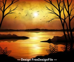 Flying birds and nature landscape illustrations vector