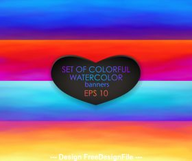 Four watercolor color banners vector