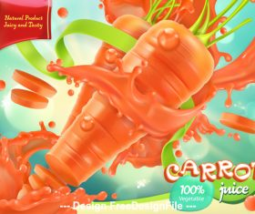 Fresh carrot juice promotion poster vector