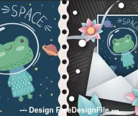 Frog cartoon illustration pattern vector