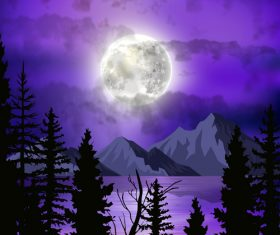 Full moon illustrations vector