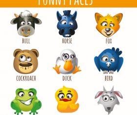 Funny animal emoji faces icon vector